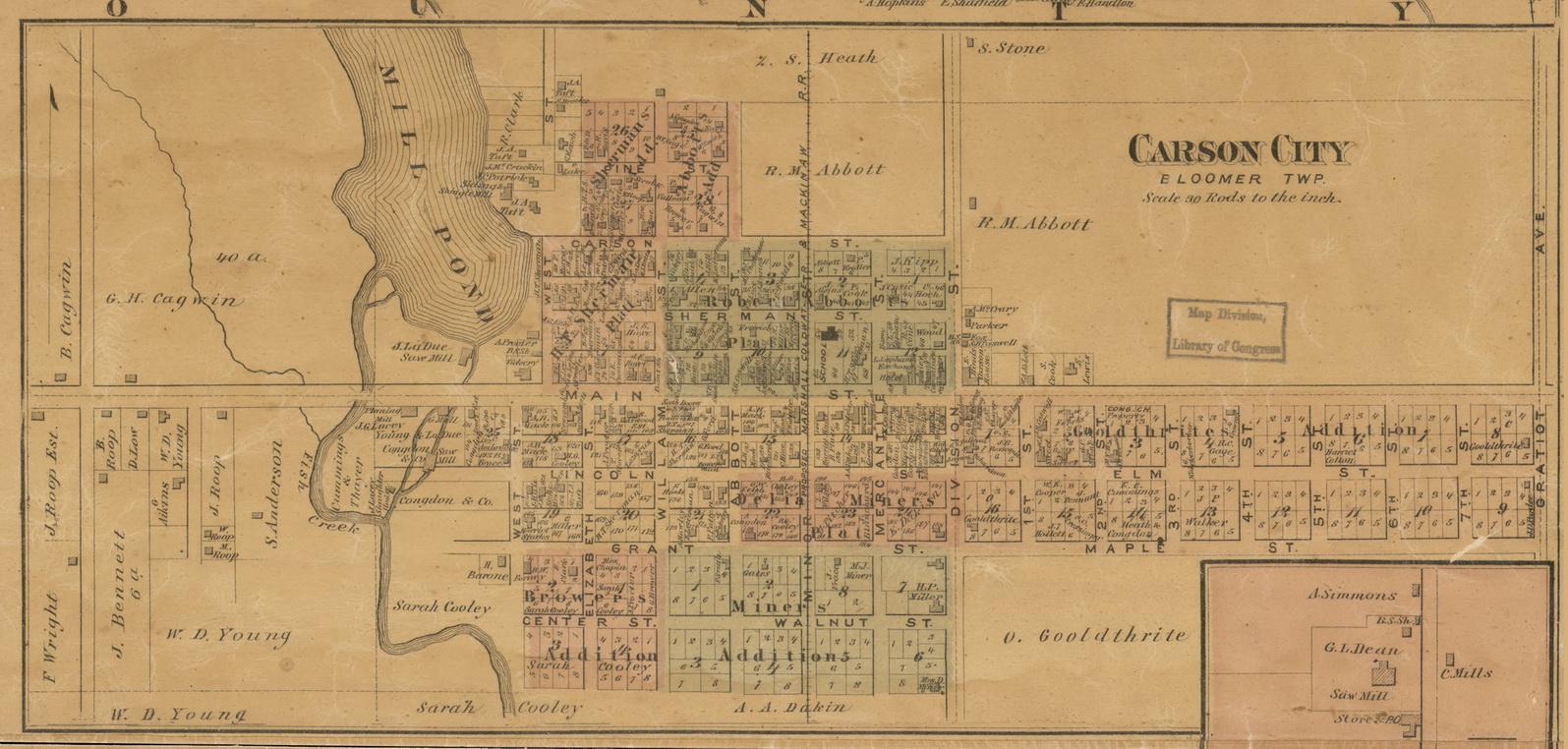 Carson City Michigan 1875 Old Town Map Custom Print Montcalm Co