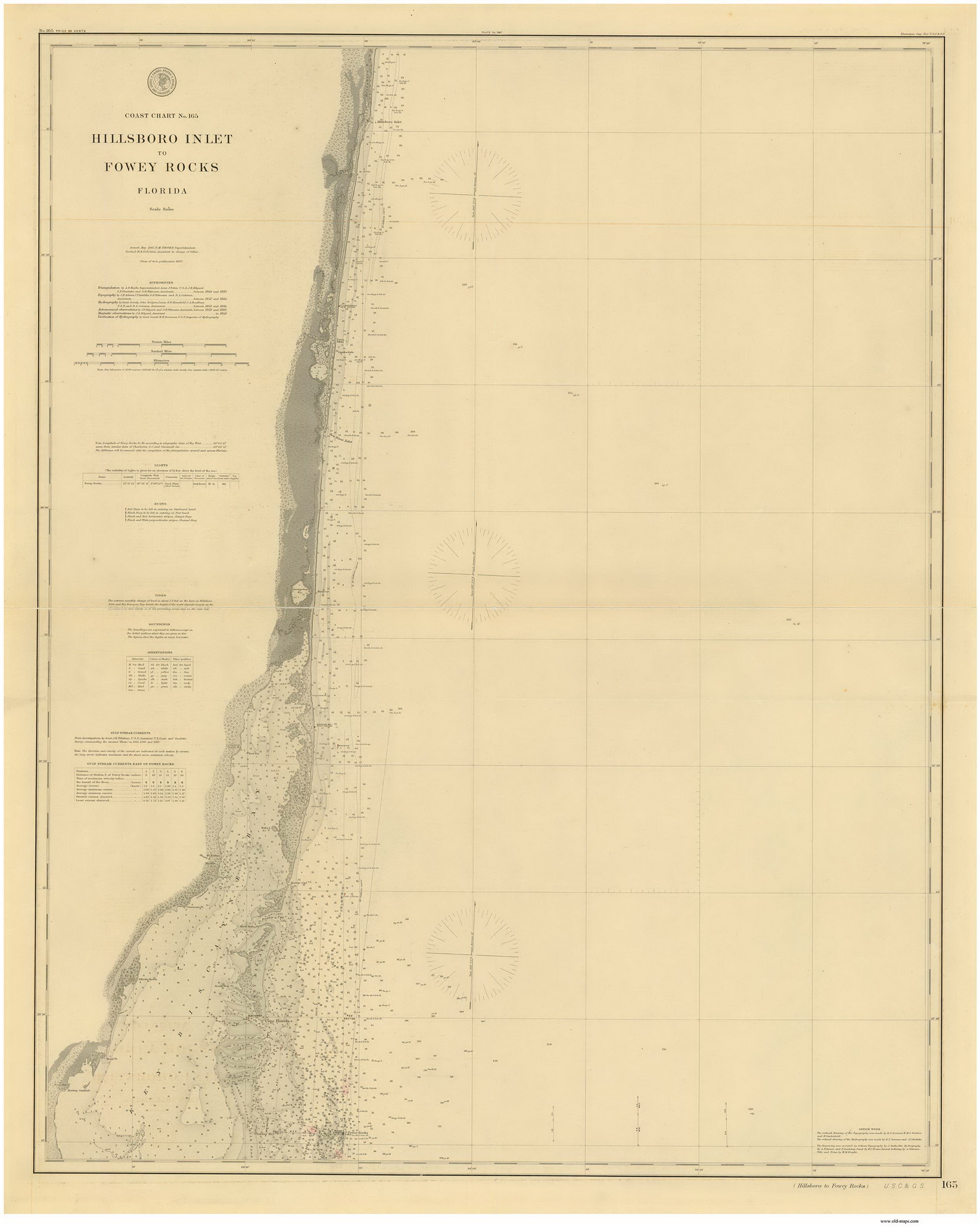 Hillsboro Inlet to Fowey Rocks 1895 80000 AT Chart 165 - OLD MAPS