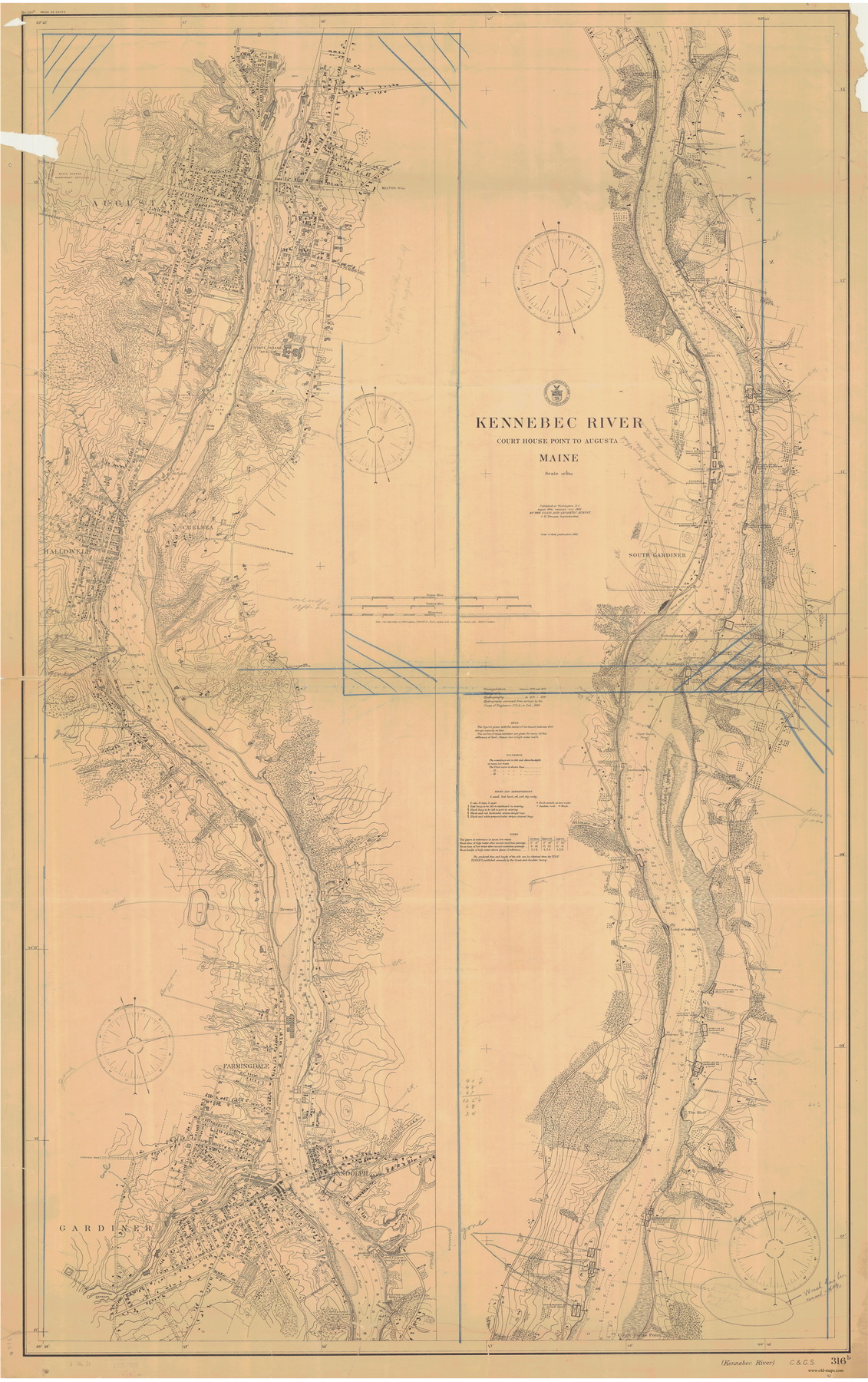 Kennebec River Courthouse Point to Augusta 1898 Old Map Nautical