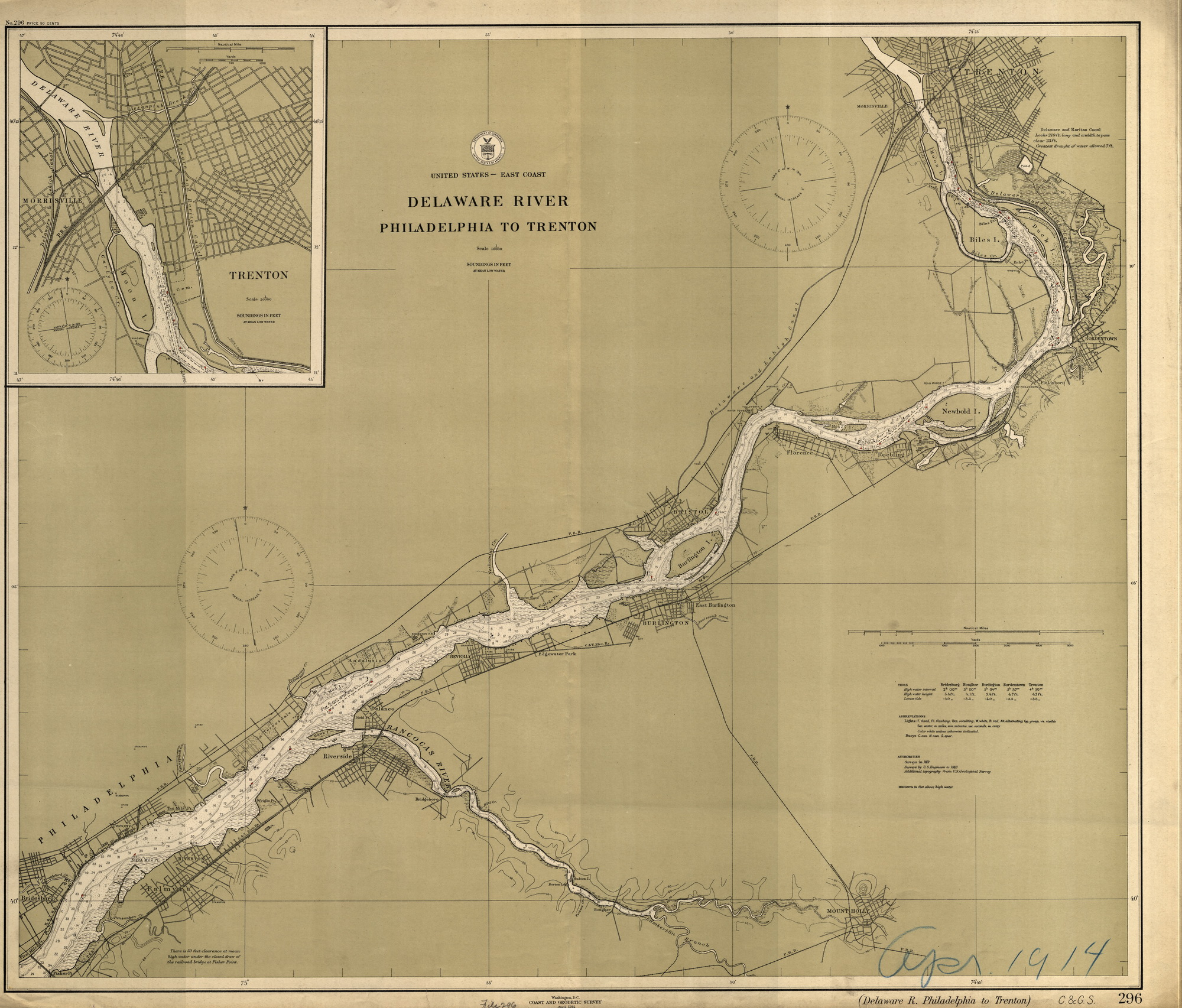 Delaware River Philadelphia to Trenton 1914 - Old Map Nautical Chart on map of mullica township nj, map of lawnside nj, map of farmington nj, map of cliffwood beach nj, map of stafford twp nj, map of pedricktown nj, map of west long branch nj, map of wood-ridge nj, map of hightstown nj, map of sea island nj, map of new jersey, map of cape may courthouse nj, map of haddon twp nj, map of normandy beach nj, map of lafayette nj, map of hudson nj, map of ewing township nj, map of leonardo nj, map of alexandria nj, map of mount vernon nj,