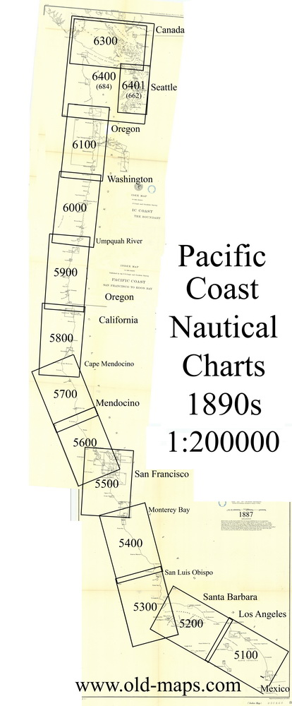Index Map to the Pacific Coast 200,000 scale Charts