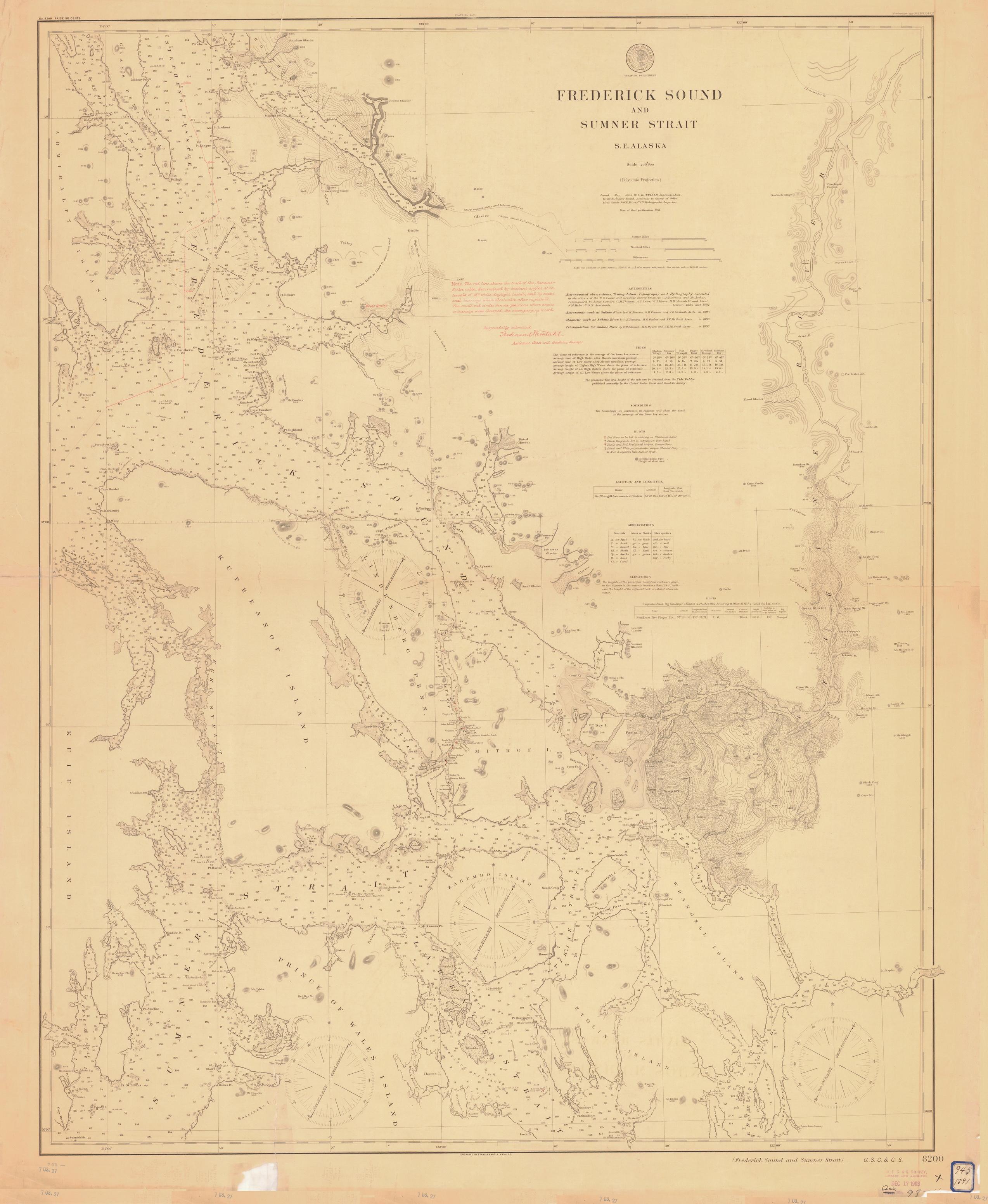 Frederick Sound Alaska Map.Frederick Sound And Sumner Strait 1895 Nautical Chart 200 000 Scale