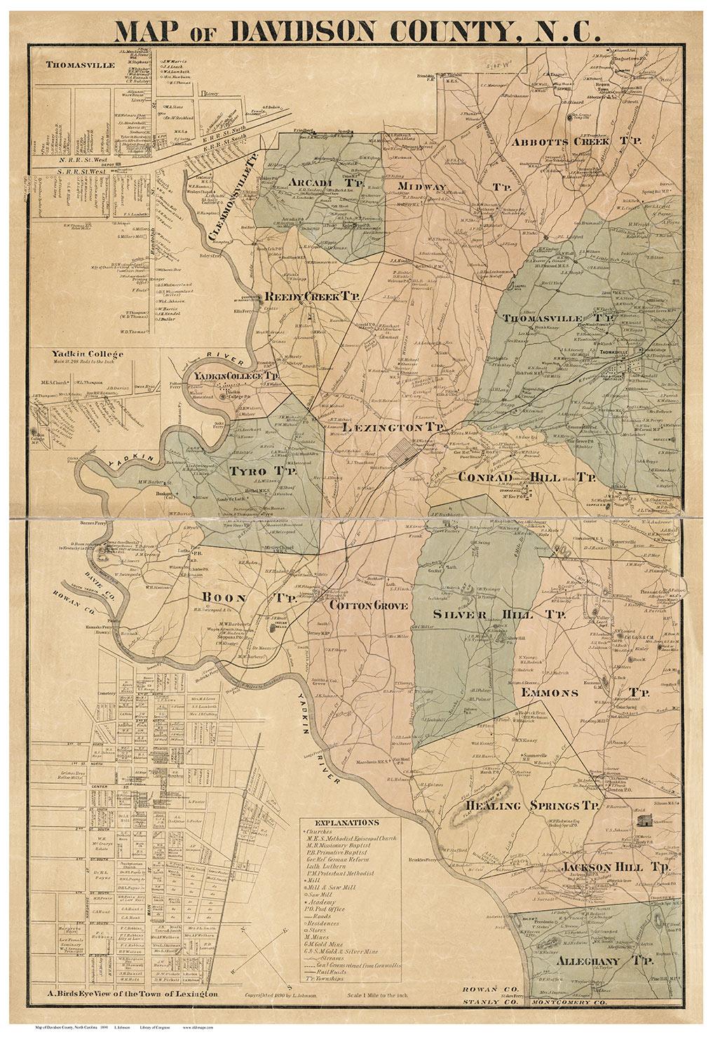 Davidson County North Carolina 1890 Old Map Reprint Old Maps