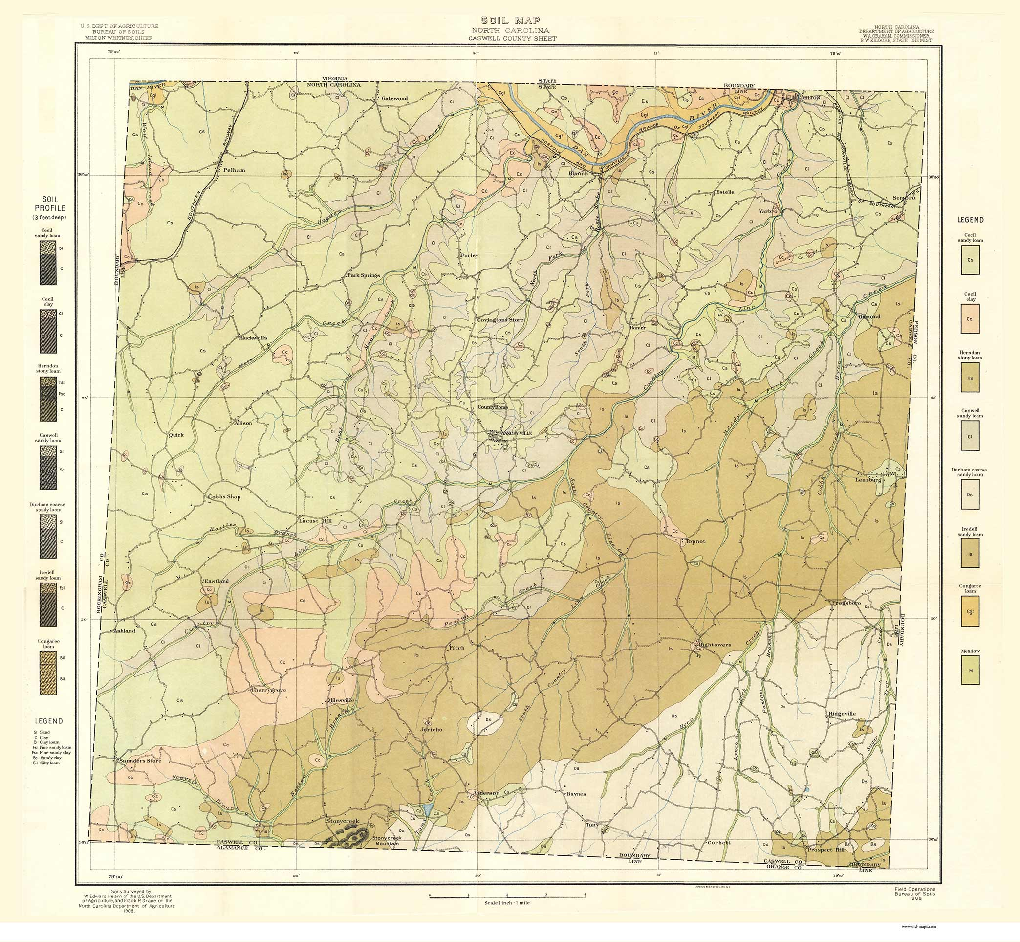 graphic about Printable Map of North Carolina Counties called Caswell County Soils Map, 1908 North Carolina - Aged Map Reprint