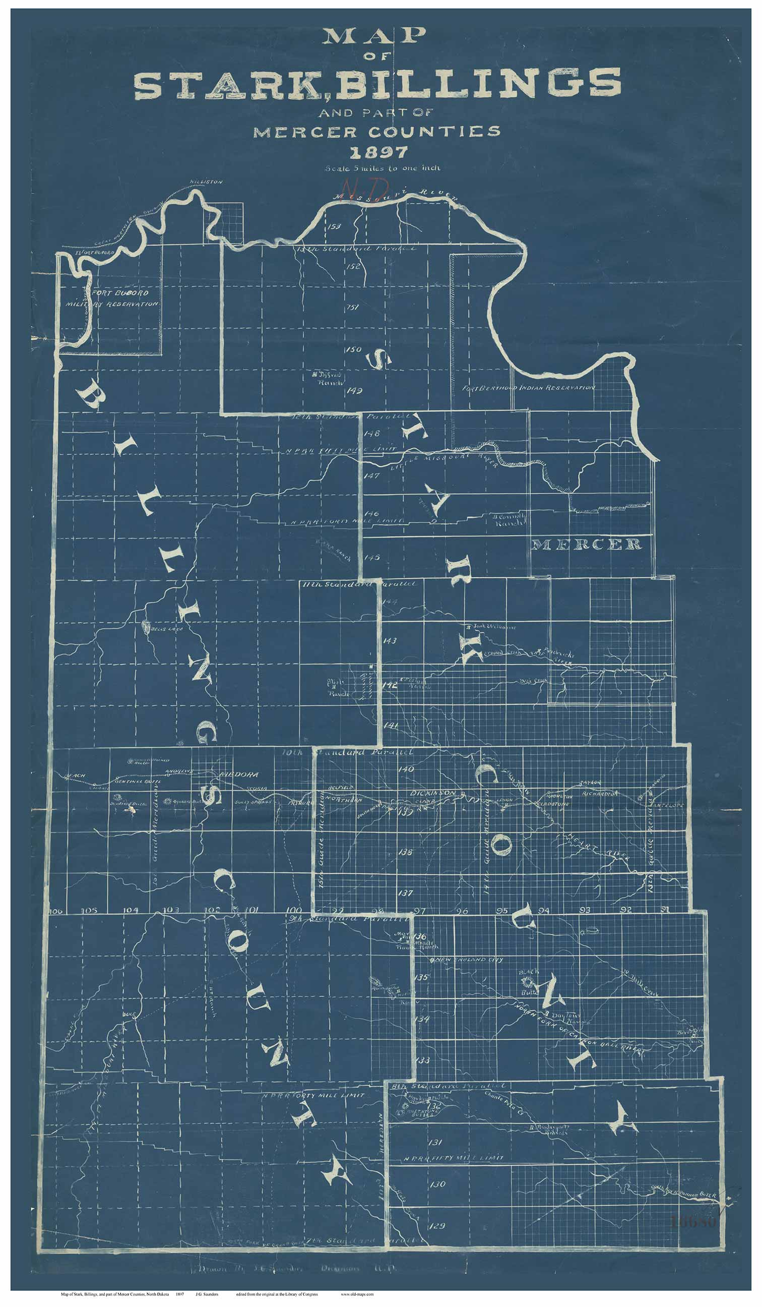 Stark, Billings & part of Mercer County North Dakota 1897 Blueprint on print map of states, print map of ontario canada, print map of oklahoma city, print map of st. augustine, print map of philadelphia, print map of houston,