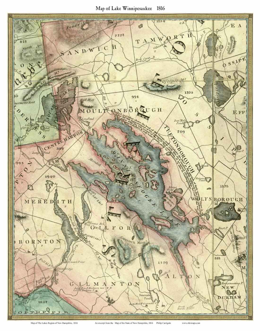 Lake Winnipesaukee New Hampshire 1816 Old Map Custom Print OLD MAPS