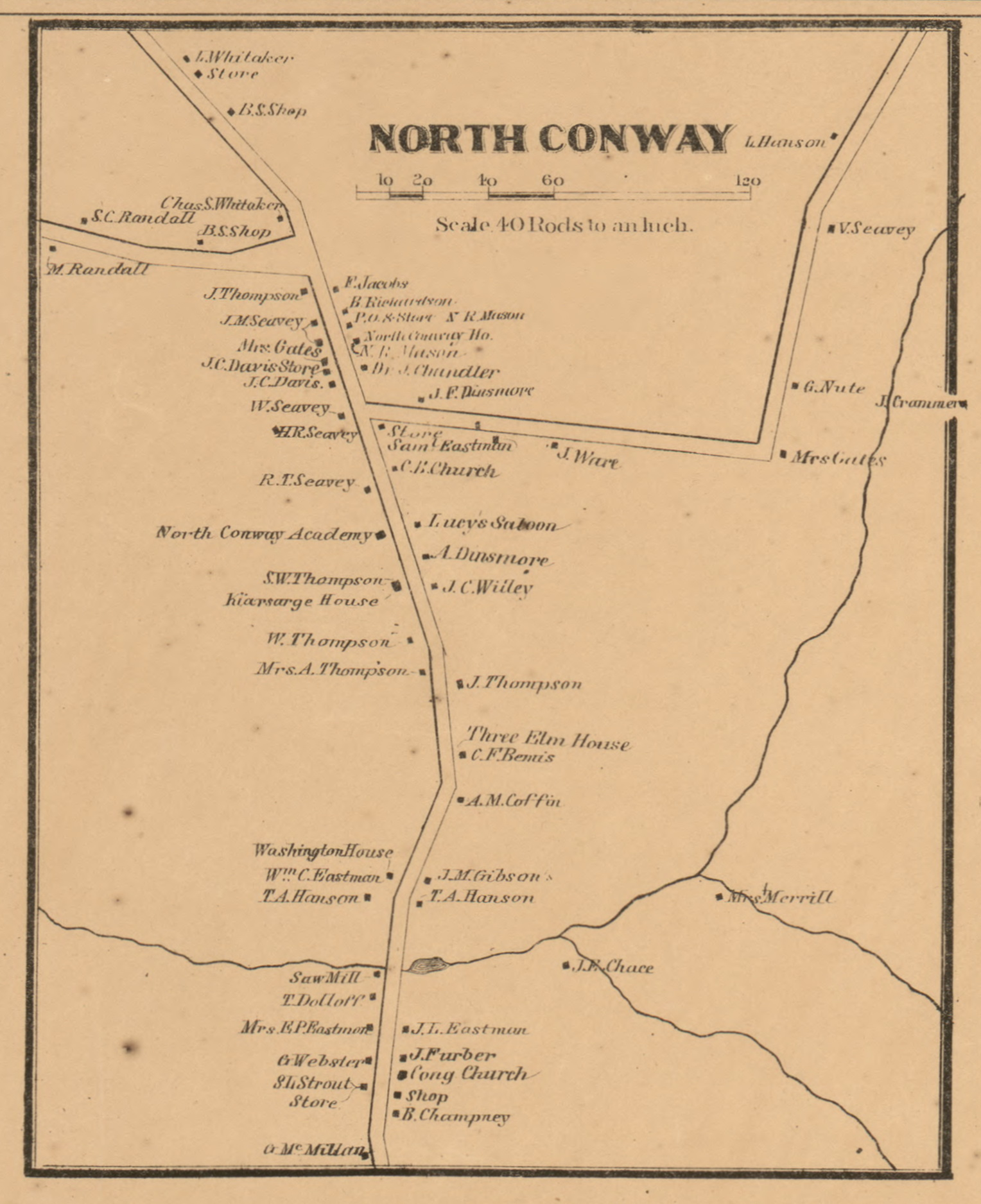 North Conway, New Hampshire 1861 Old Town Map Custom Print - Carroll on coos county nh town map, alton nh town map, new boston nh town map, gorham nh town map, pelham nh town map, carroll county nh town map, gilmanton nh town map, newton nh town map, peterborough nh town map,