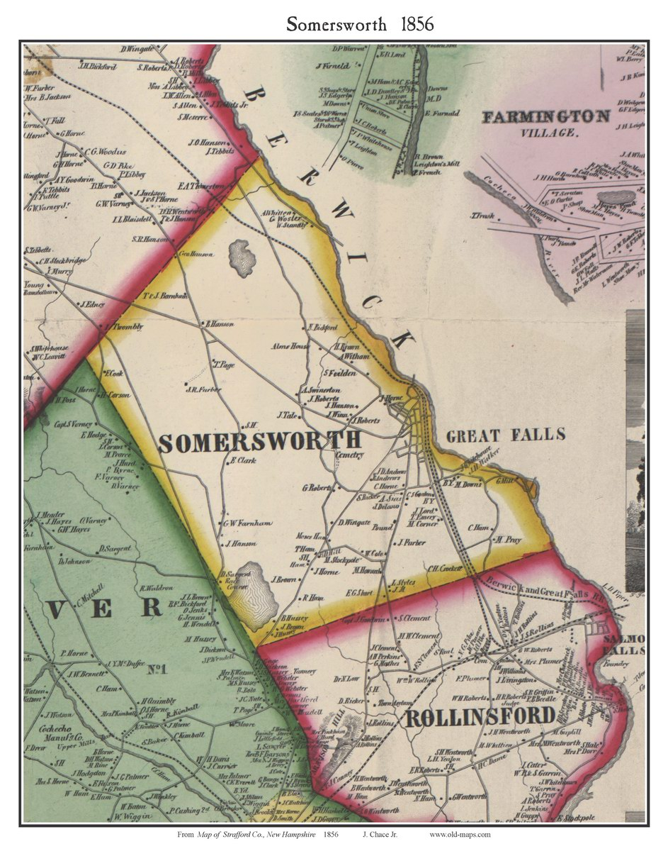 Somersworth New Hampshire 1856 Old Town Map Custom Print
