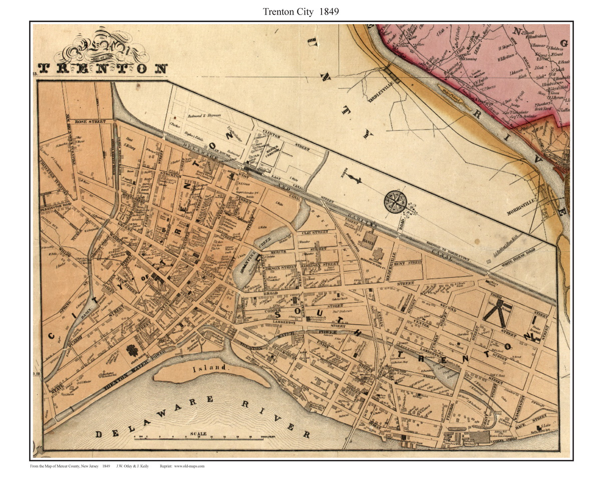 Trenton City New Jersey 1849 Old Town Map Custom Print Mercer Co