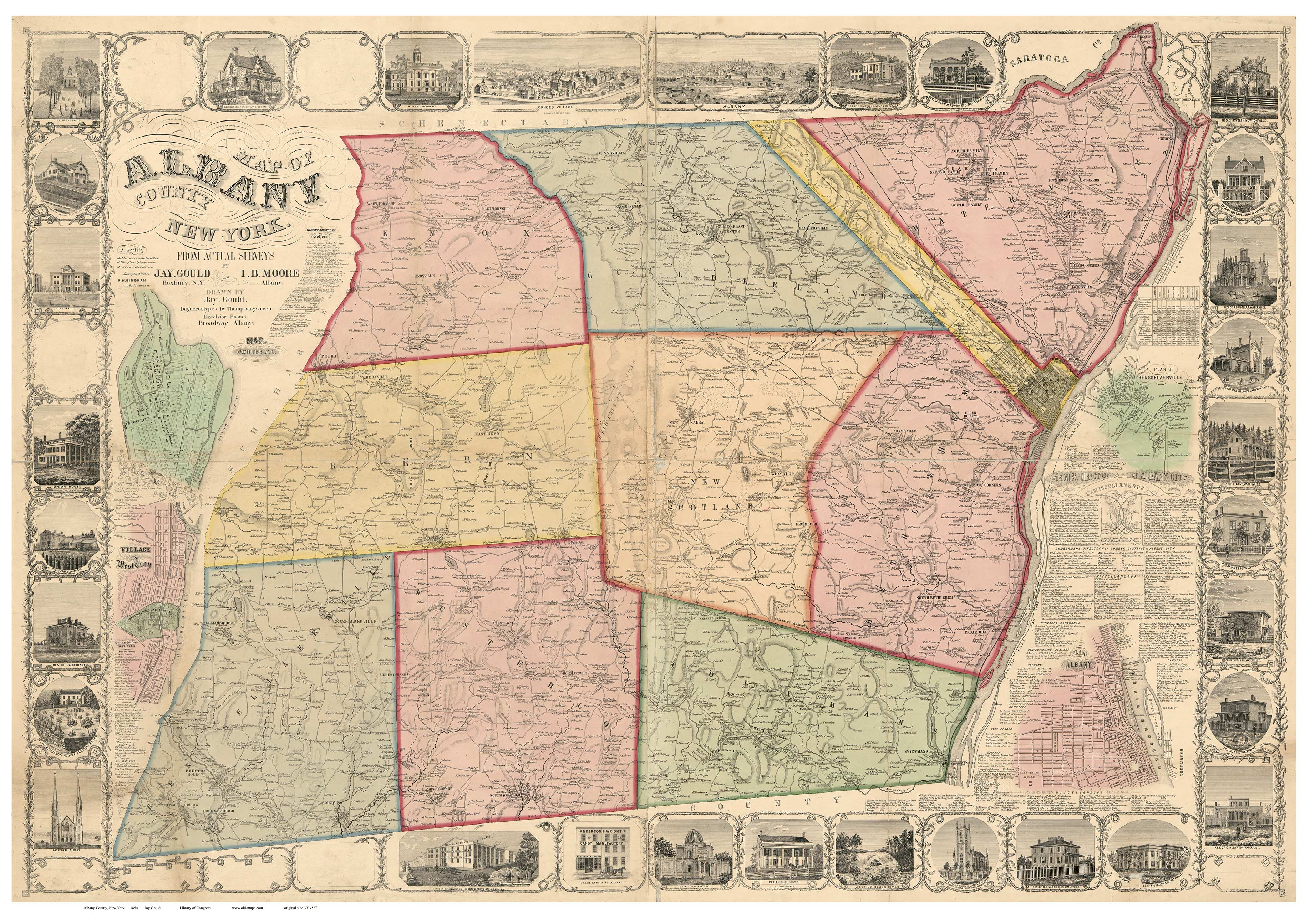 Albany County New York 1854 Old Map Reprint OLD MAPS