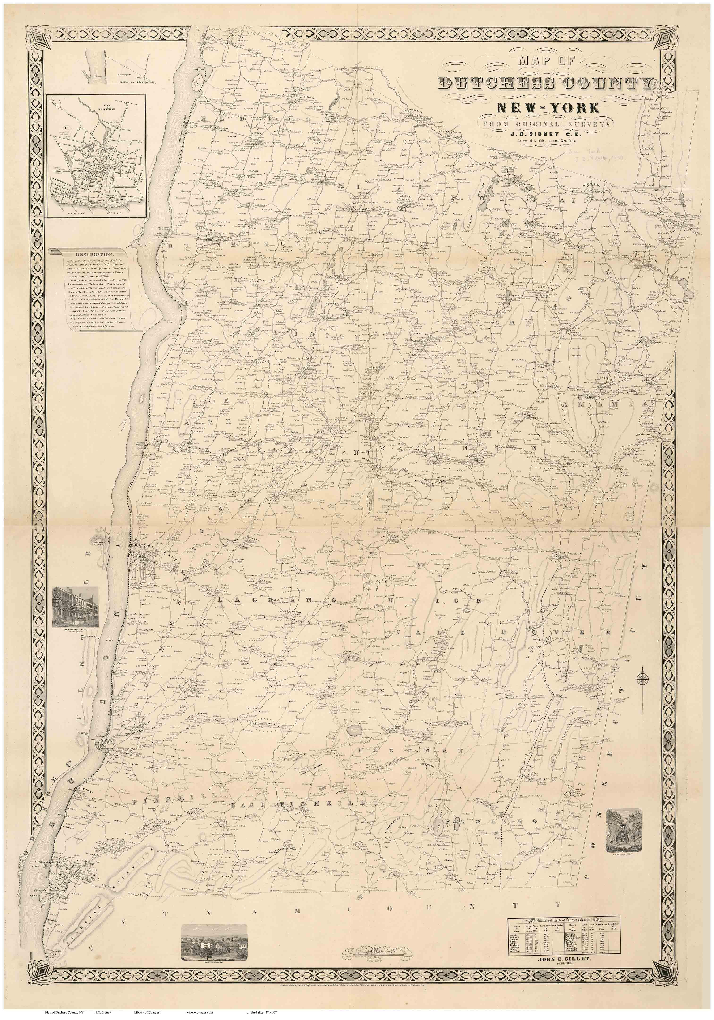 Dutchess County New York 1850 - Old Map Reprint - OLD MAPS  |New York Dutchess County Soils Maps