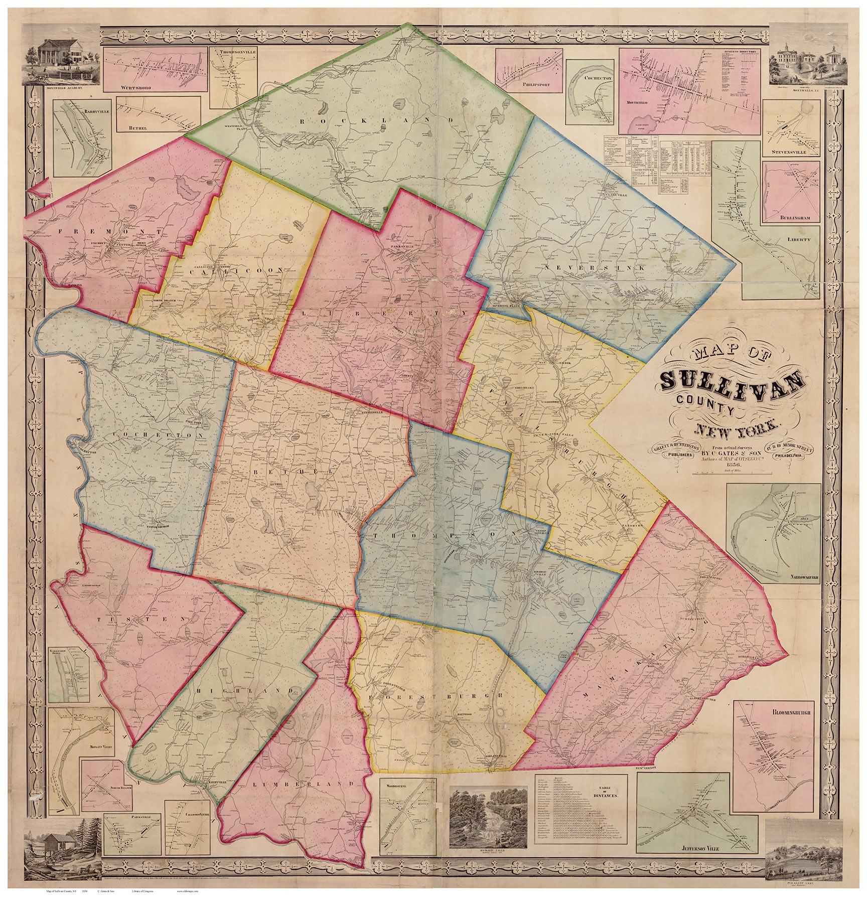 1856 Map of Sullivan County NY from actual surveys