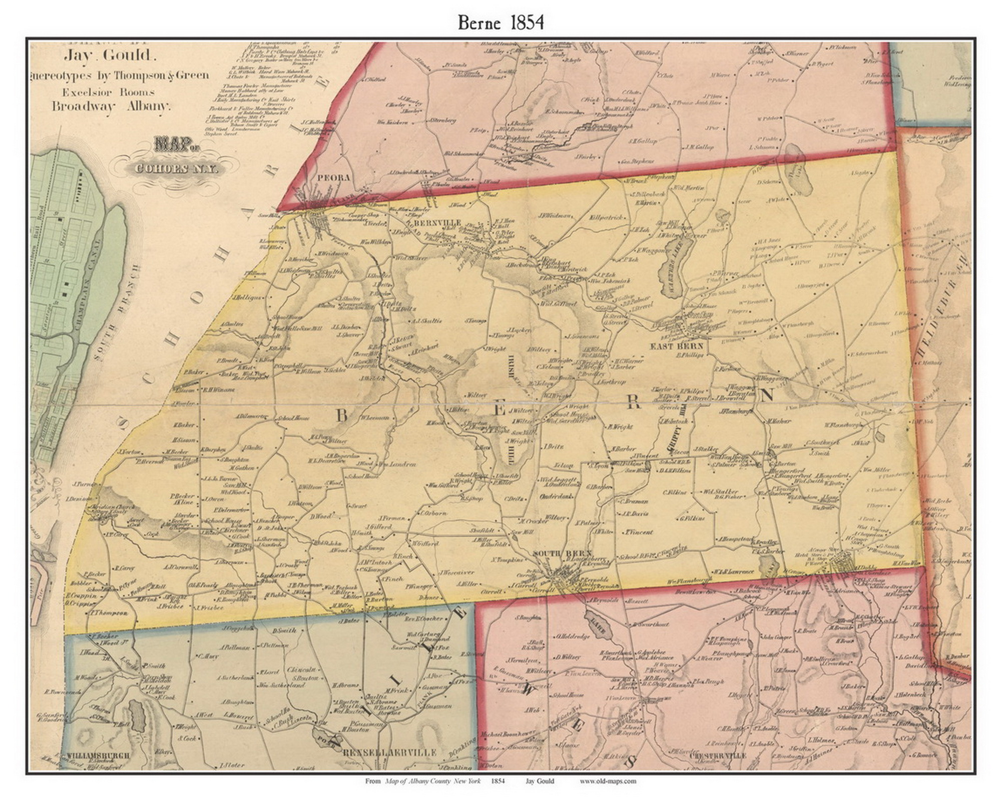 Berne New York 1854 Old Town Map Custom Print Albany Co OLD MAPS