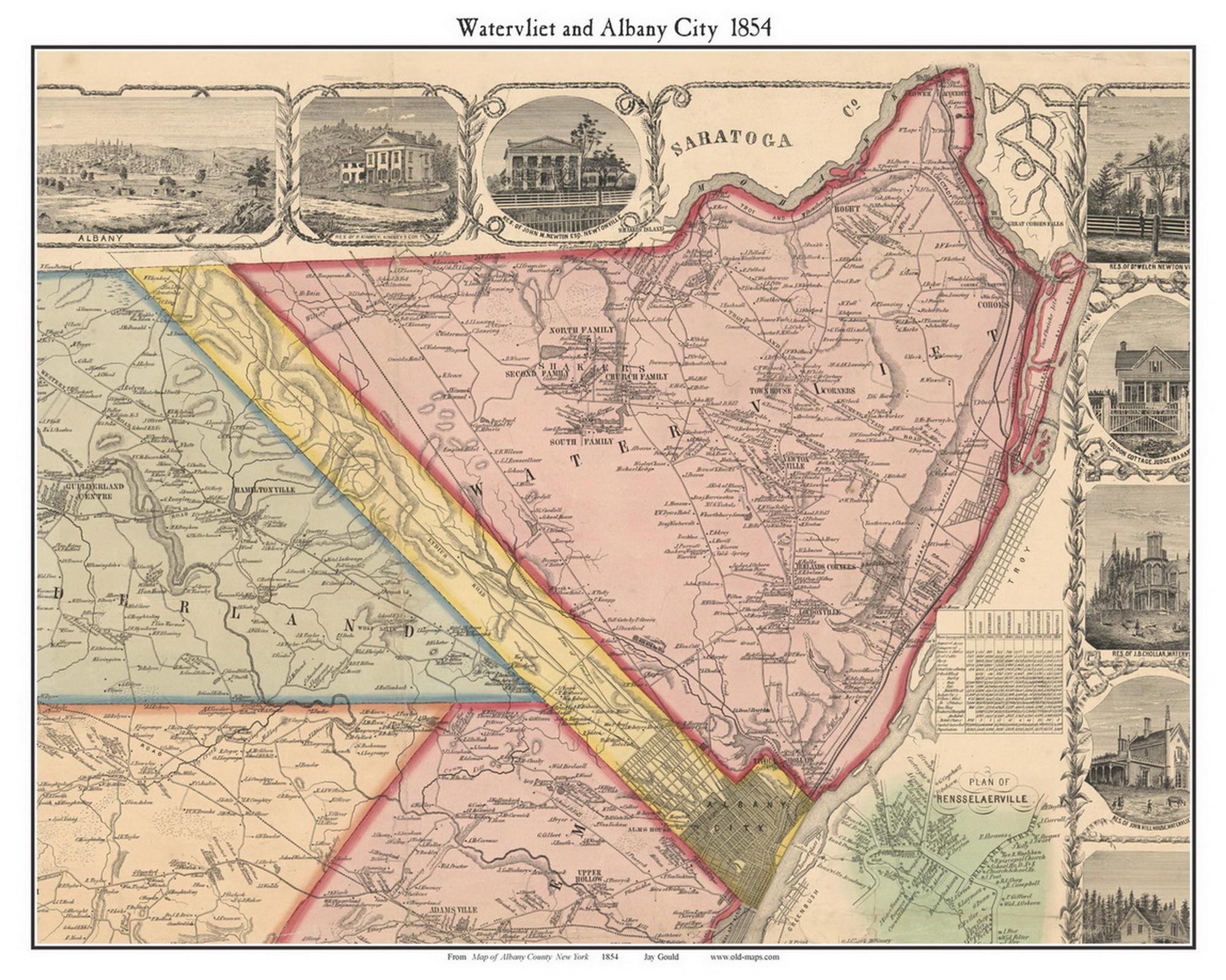 Watervliet Albany City New York 1854 Old Town Map Custom Print