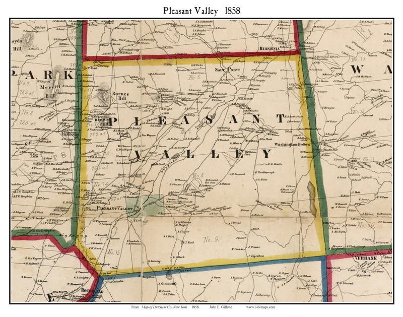 Pleasant Valley, New York 1858 Old Town Map Custom Print - Dutchess ...