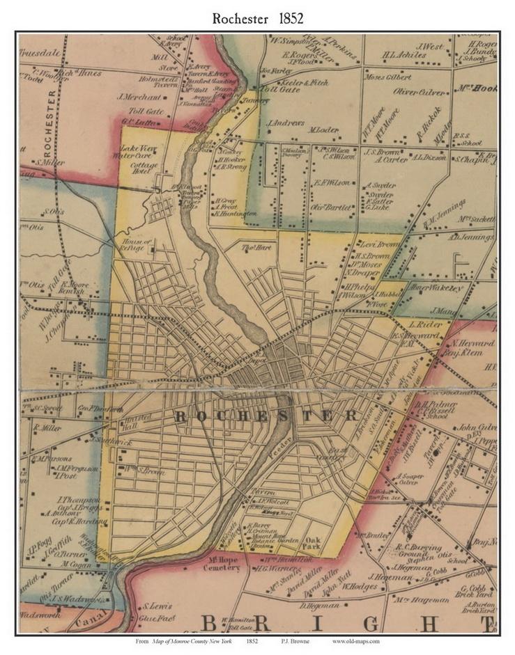 Rochester New York 1852 Old Town Map Custom Print Monroe Co