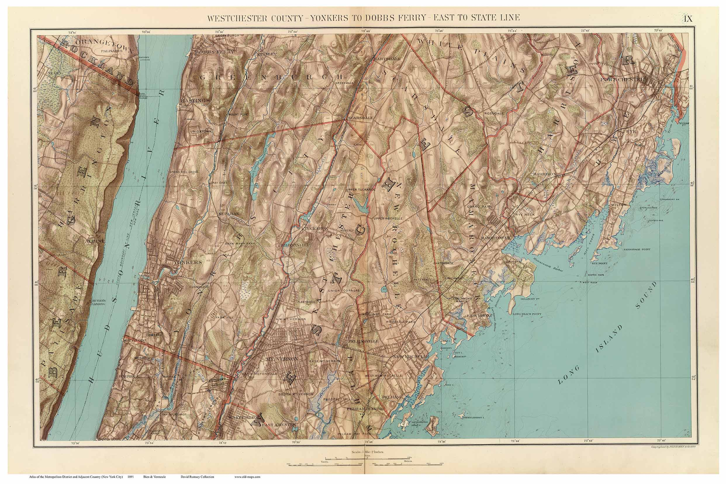 Westchester Yonkers to Dobbs Ferry 1891 Old Town Map Reprint