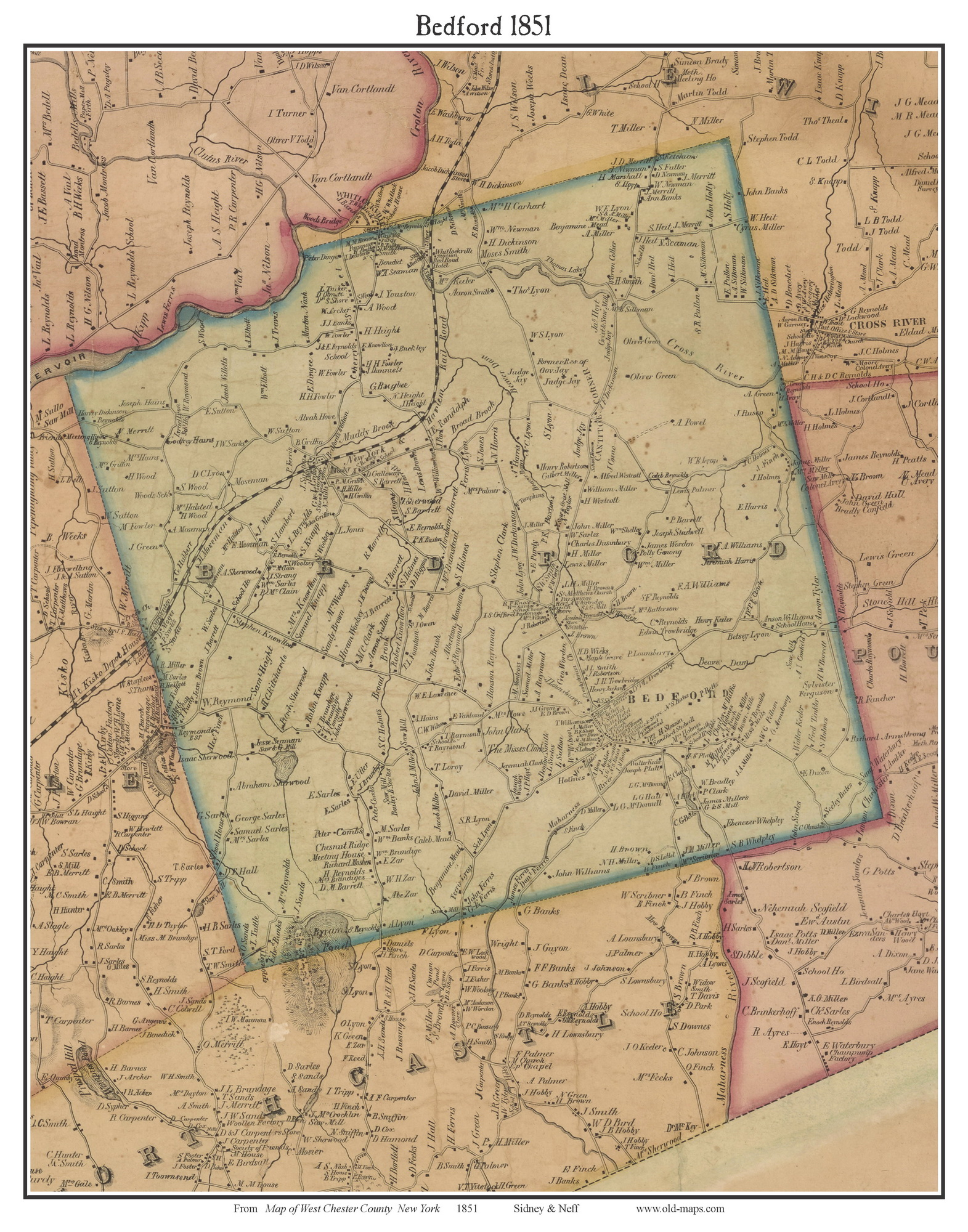 Bedford New York 1851 Old Town Map Custom Print West Chester