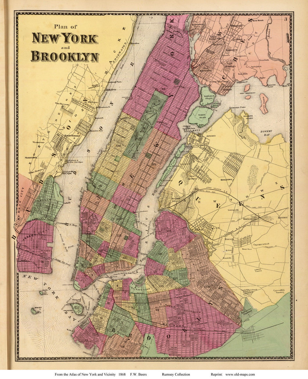 New York City and Brooklyn New York 1868  Old Town Map Reprint