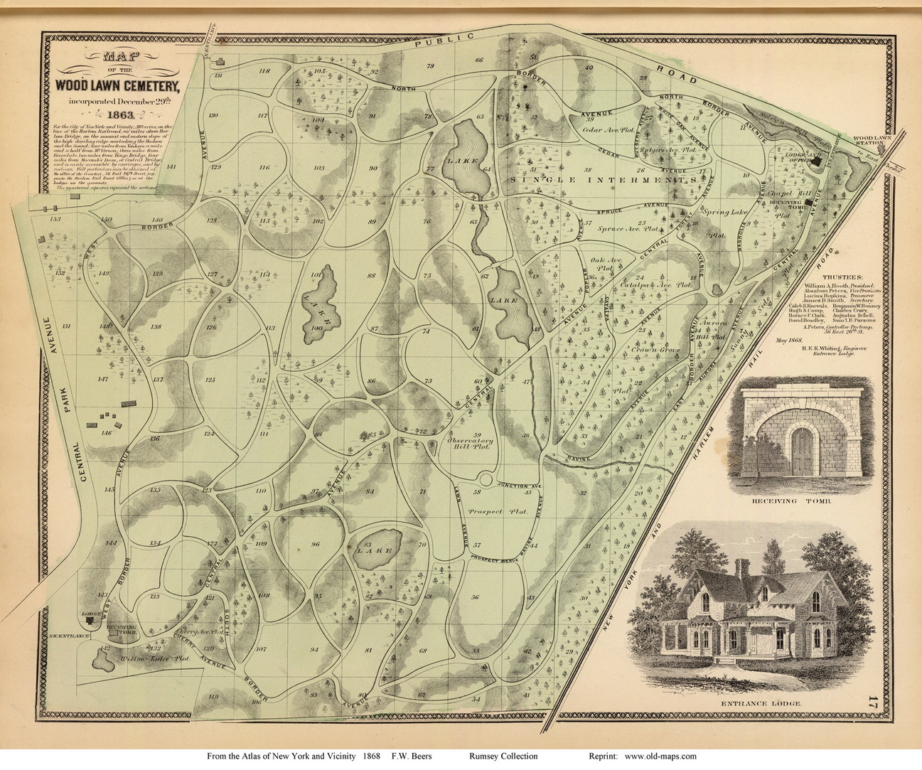 Woodlawn Cemetery Yonkers New York 1868 Old Town Map Reprint