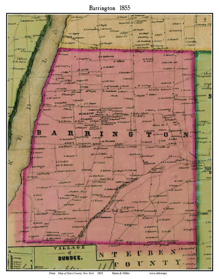 Barrington New York 1855 Old Town Map Custom Print Yates Co