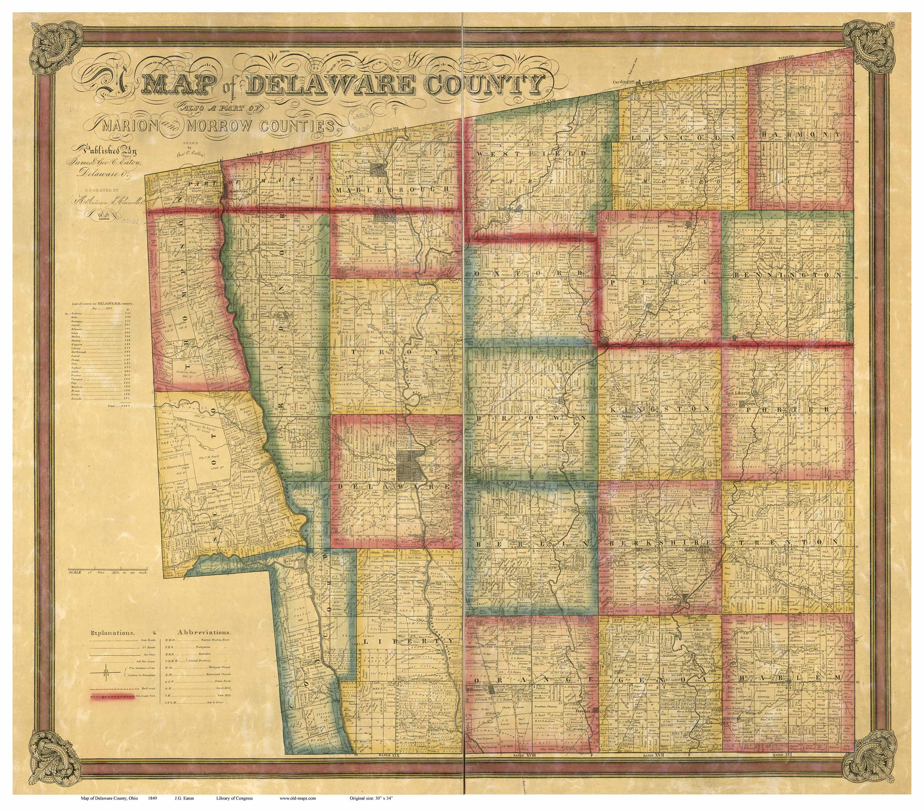 Delaware County Ohio 1849 Old Map Reprint Old Maps