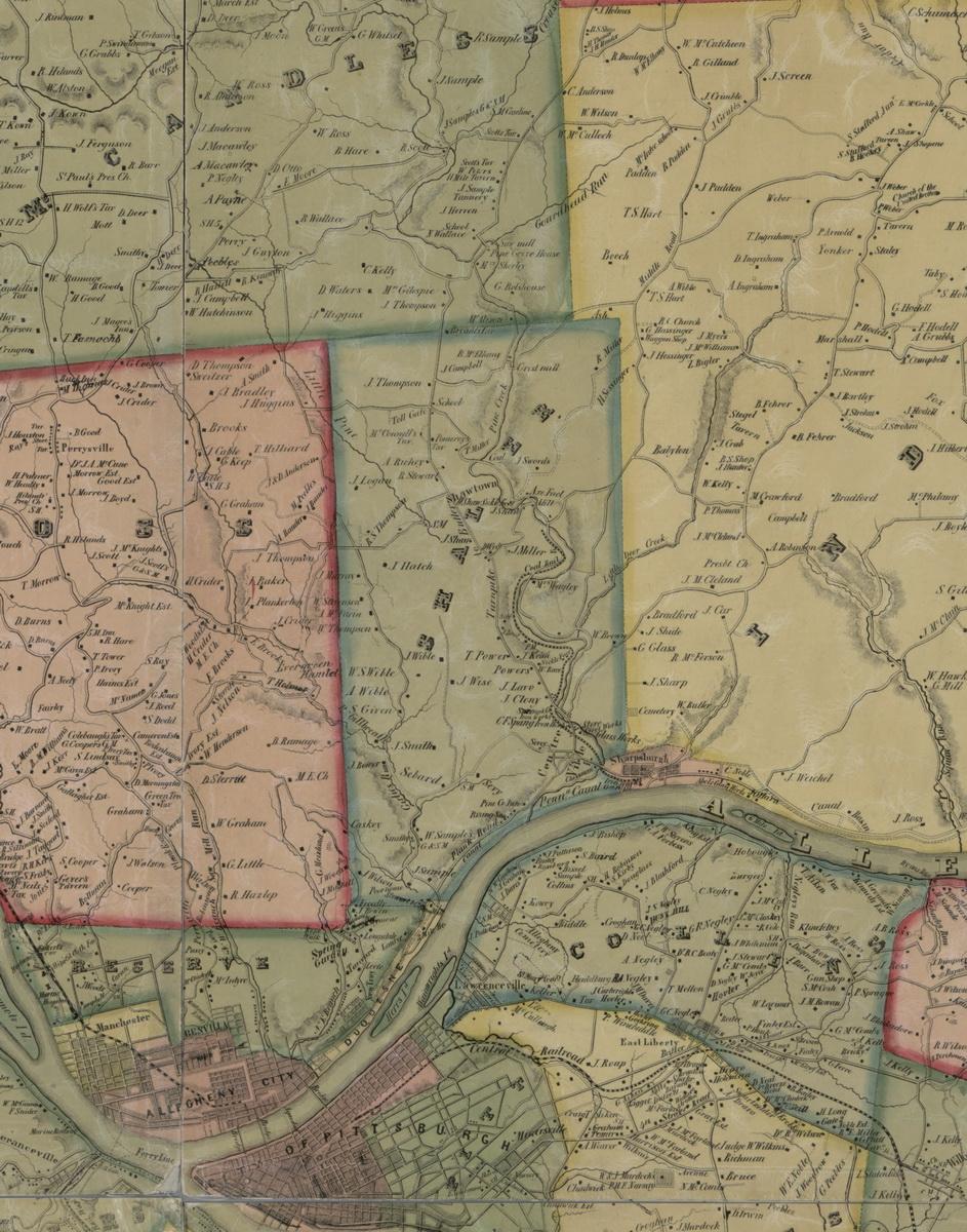 Shaler Township, Pennsylvania 1883 Old Town Map Custom