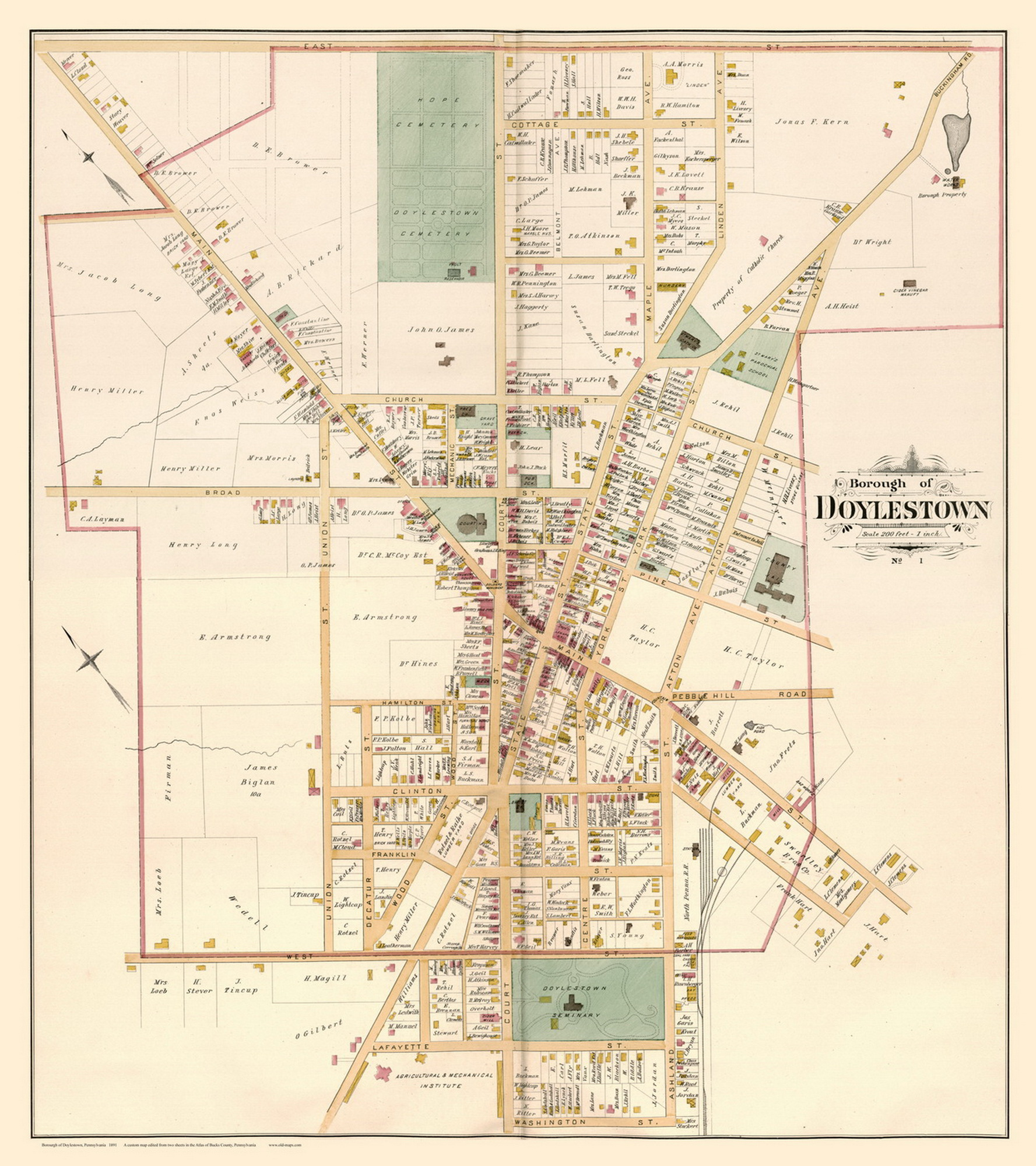 Image of: Borough Of Doylestown Pennsylvania 1891 Old Map Reprint Bucks County Old Maps