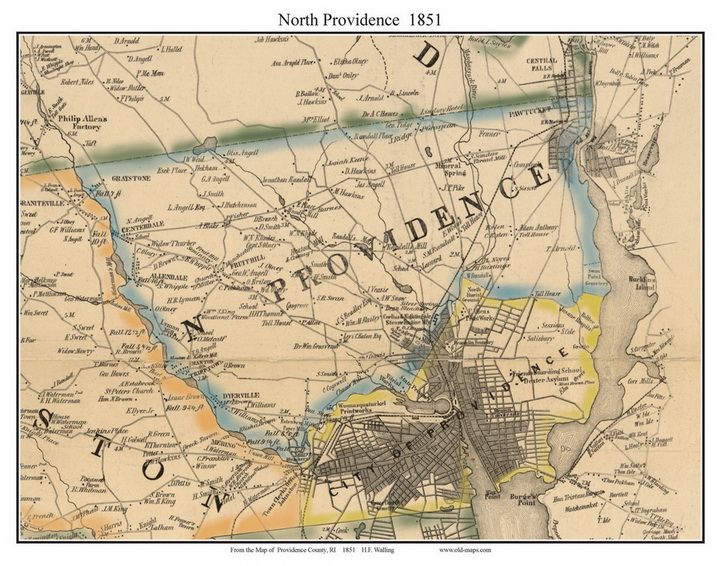 North Providence Rhode Island 1851 Old Town Map Custom Print