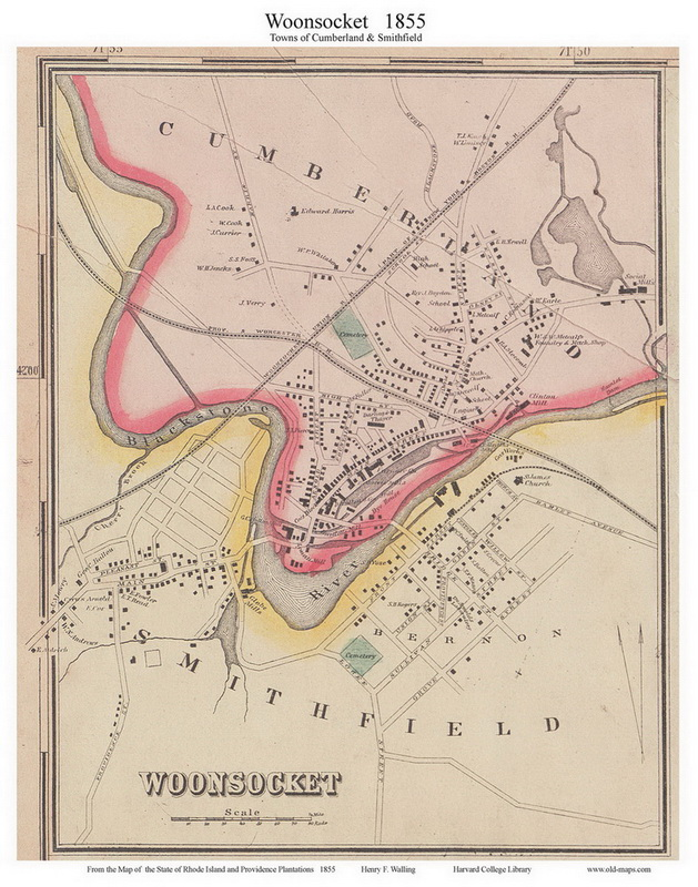 Cumberland Woonsocket Rhode Island 1855 Old Town Map Custom Print