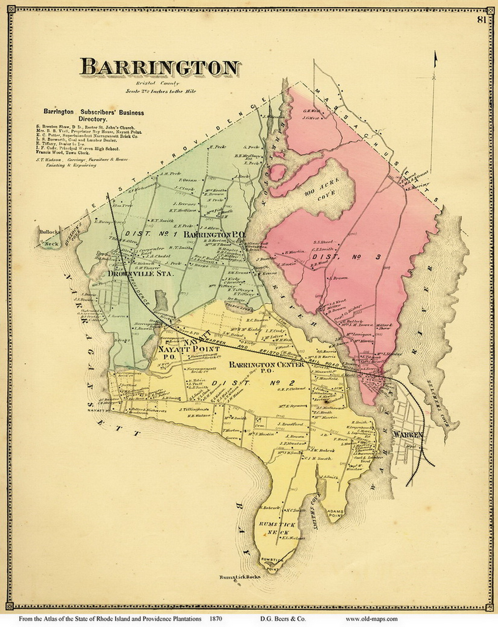 Barrington Rhode Island 1870 Old Town Map Reprint OLD MAPS