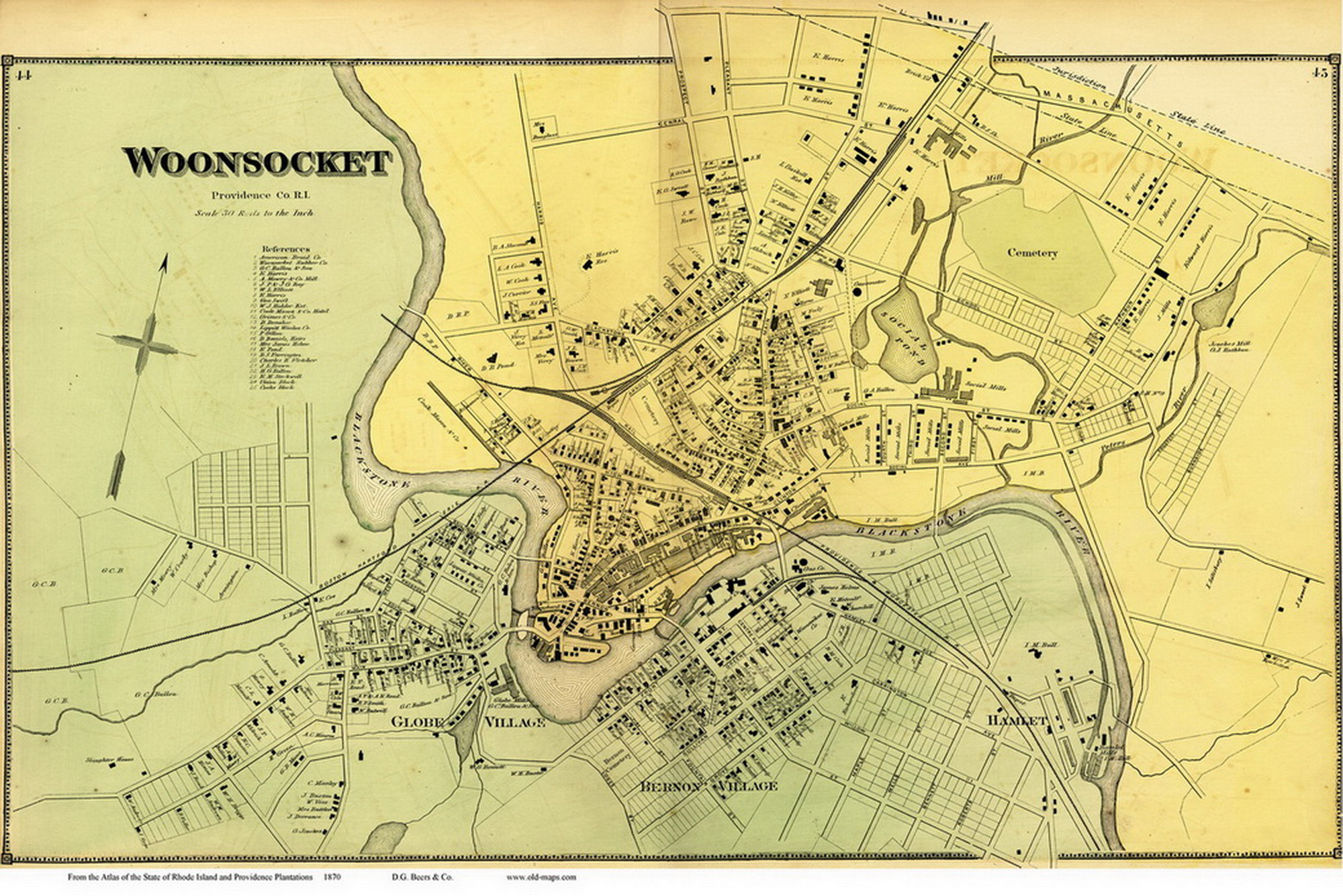 Woonsocket Village Rhode Island 1870 Old Town Map Reprint OLD MAPS