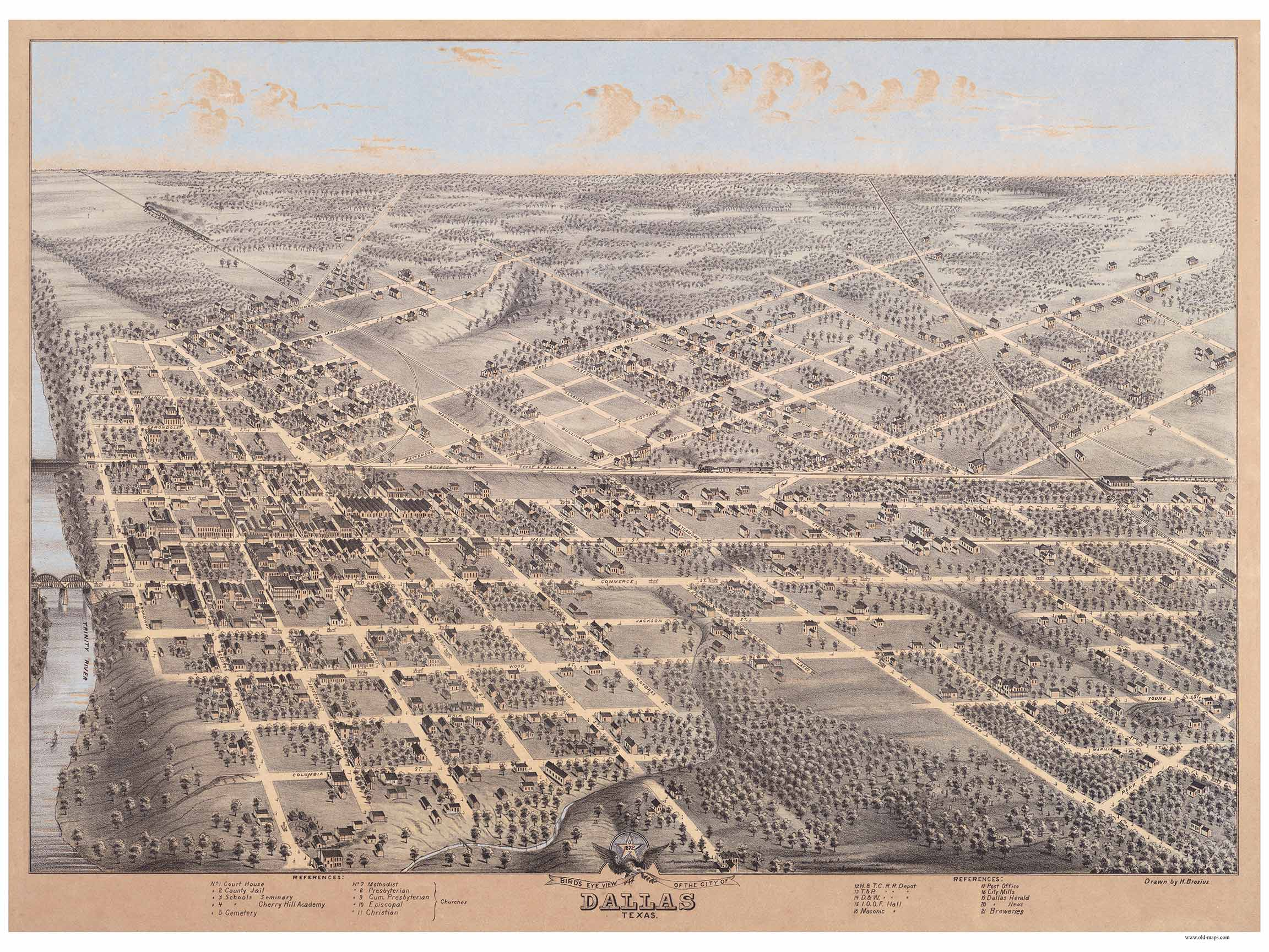 Old Dallas Map.Dallas Texas 1872 Bird S Eye View Old Maps