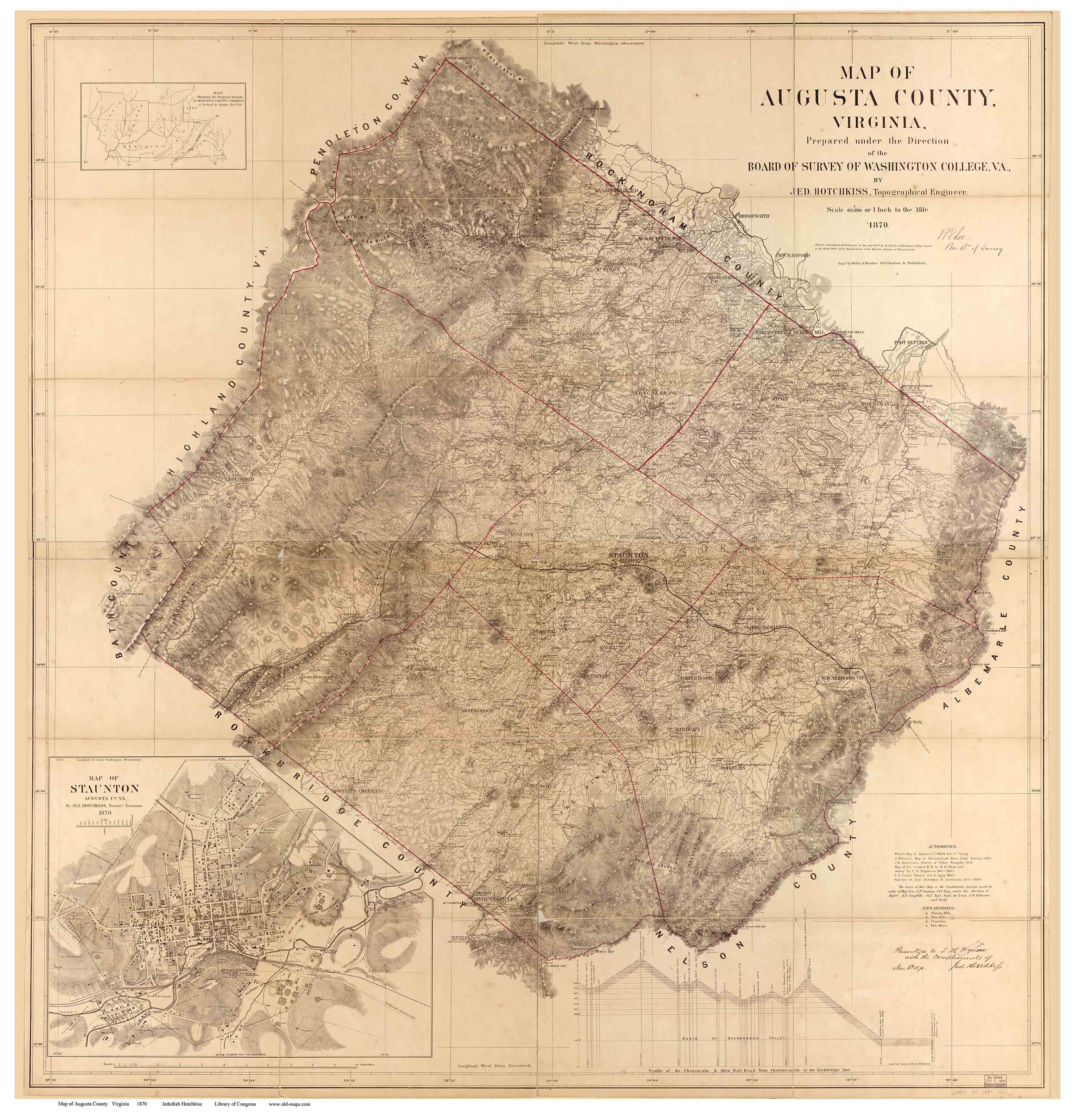 Augusta County Virginia 1870 Old Map Reprint OLD MAPS