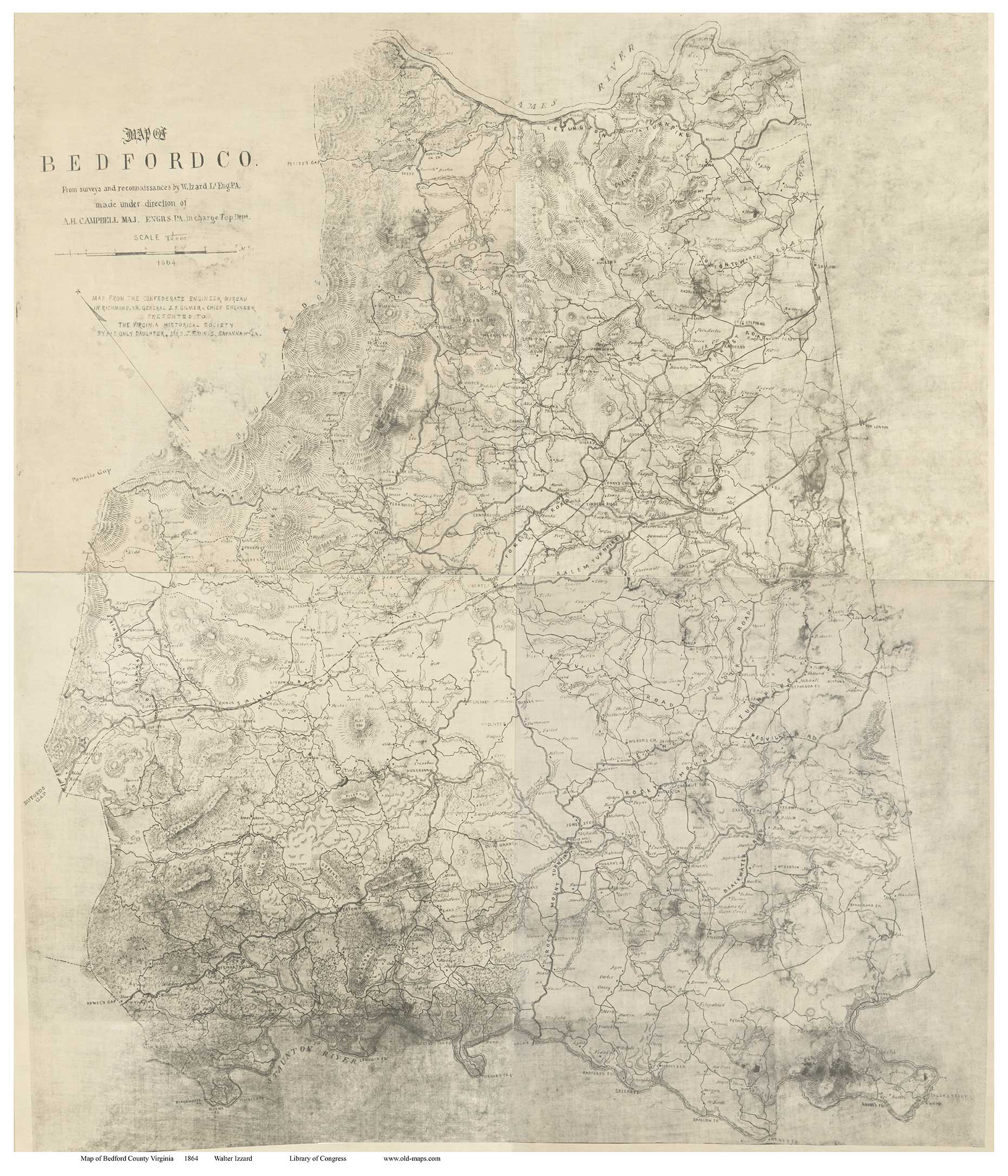 Bedford County Virginia 1864 Old Map Reprint OLD MAPS