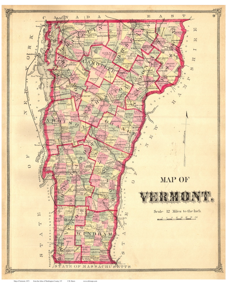 Map Of Canada In 1873.Vermont State Map 1873 From The Washington Co Beers Atlas Old Map Reprint