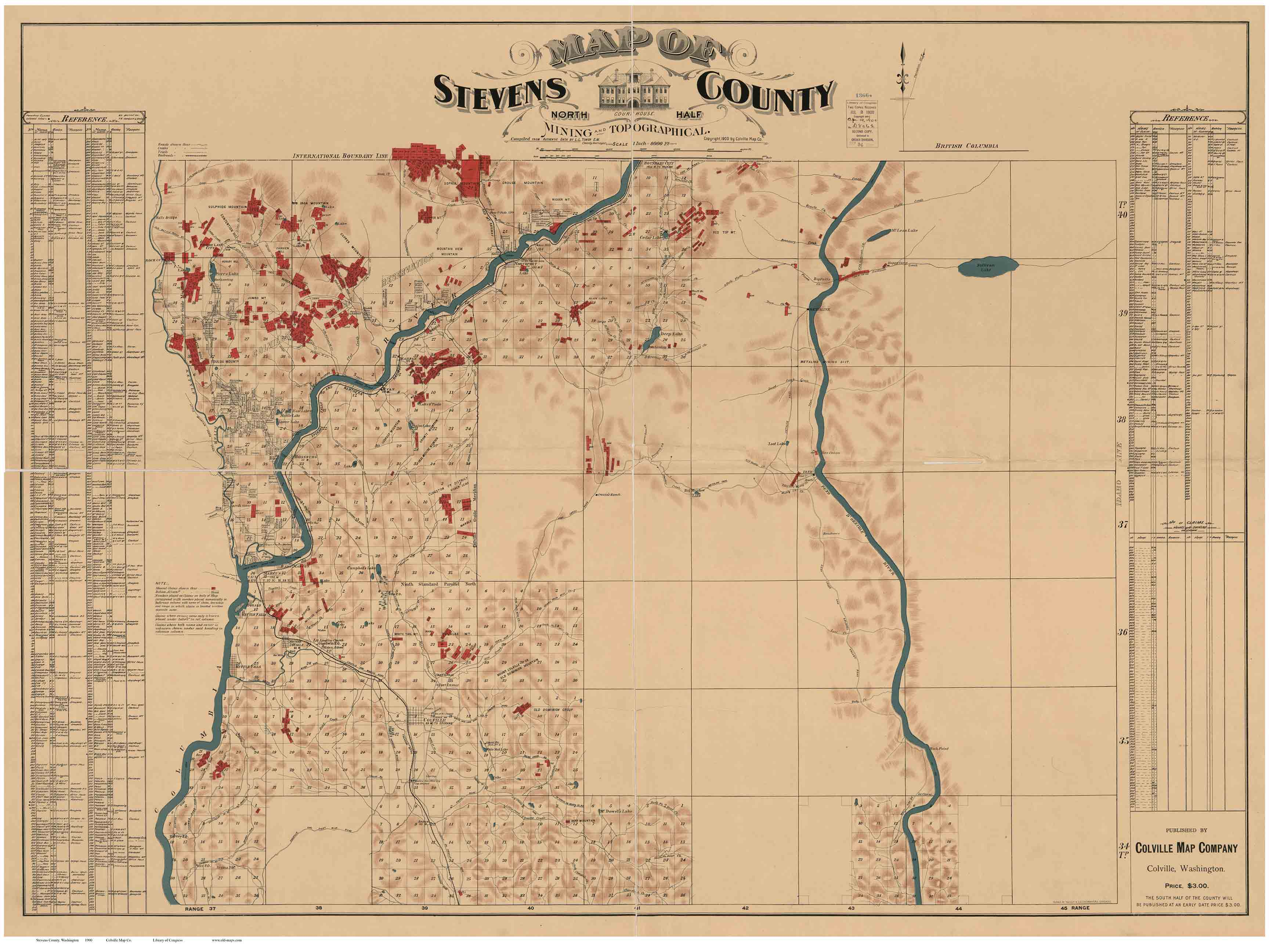 Stevens County Washington Old Map Reprint OLD MAPS - The old map company