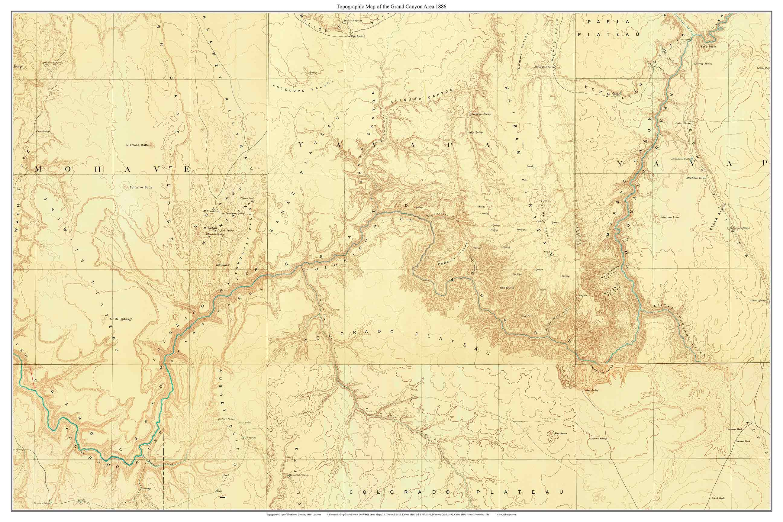 Topo Map Of Arizona.Grand Canyon Area 1886 Custom Usgs Old Topo Map Arizona