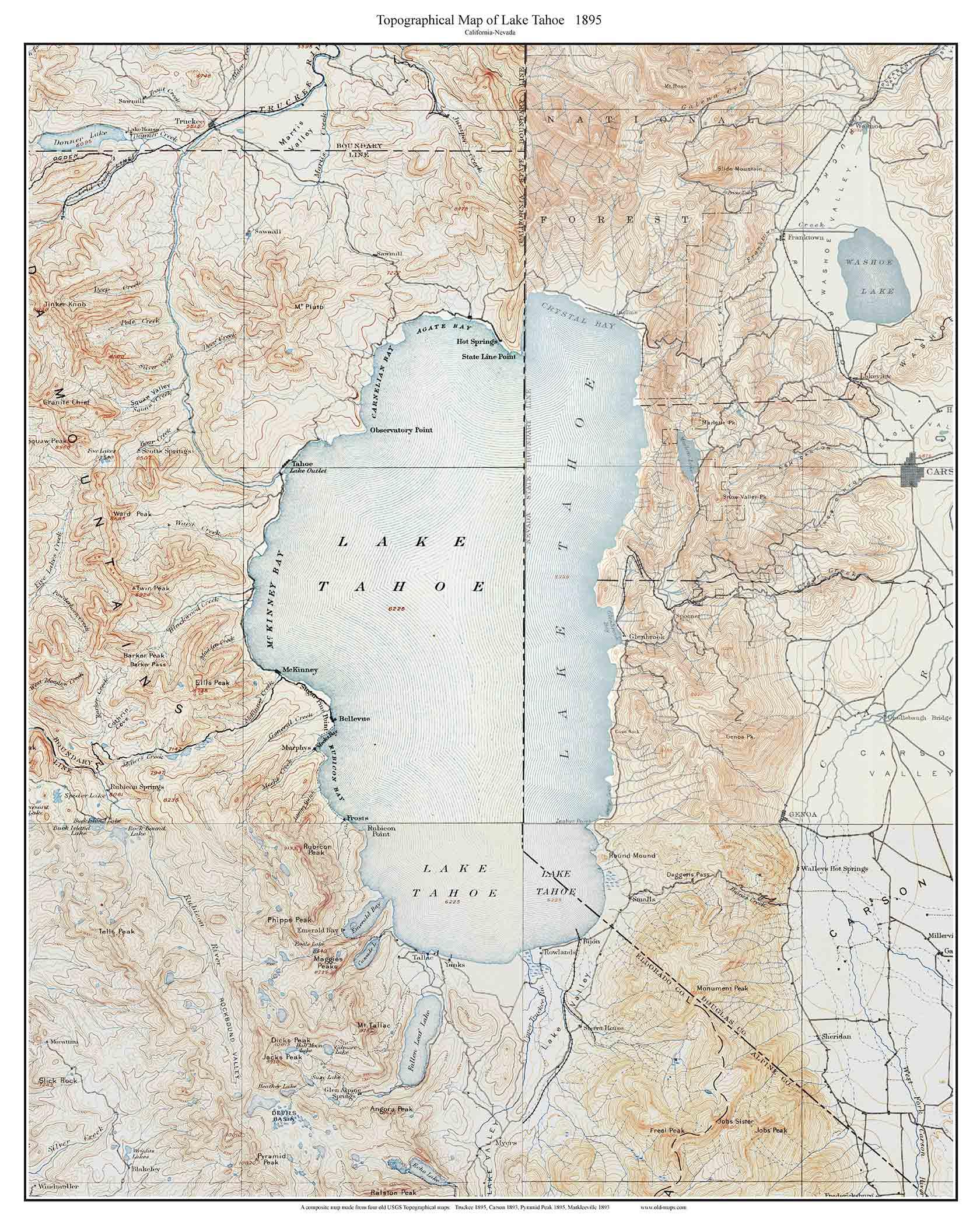 photo regarding Printable Map of Lake Tahoe named Lake Tahoe 1895 - Custom made USGS Aged Topo Map - California