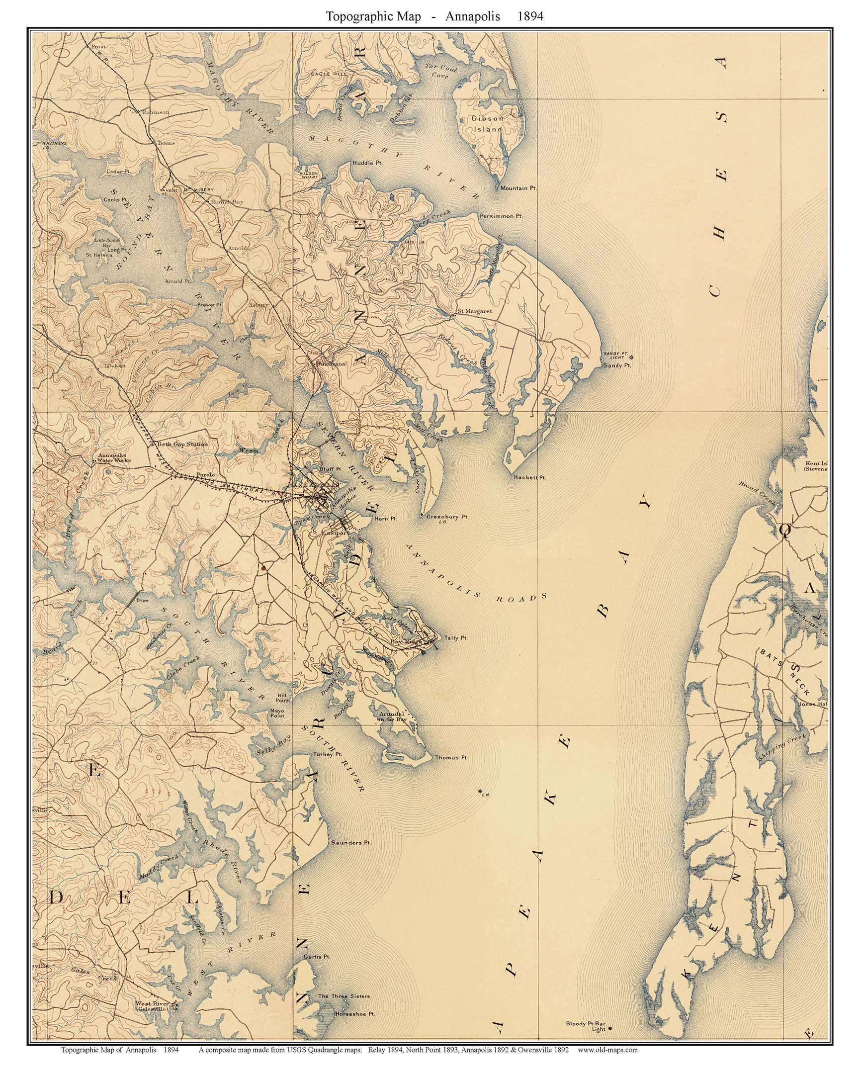 Annapolis 1894 - Custom USGS Old Topo Map - Maryland