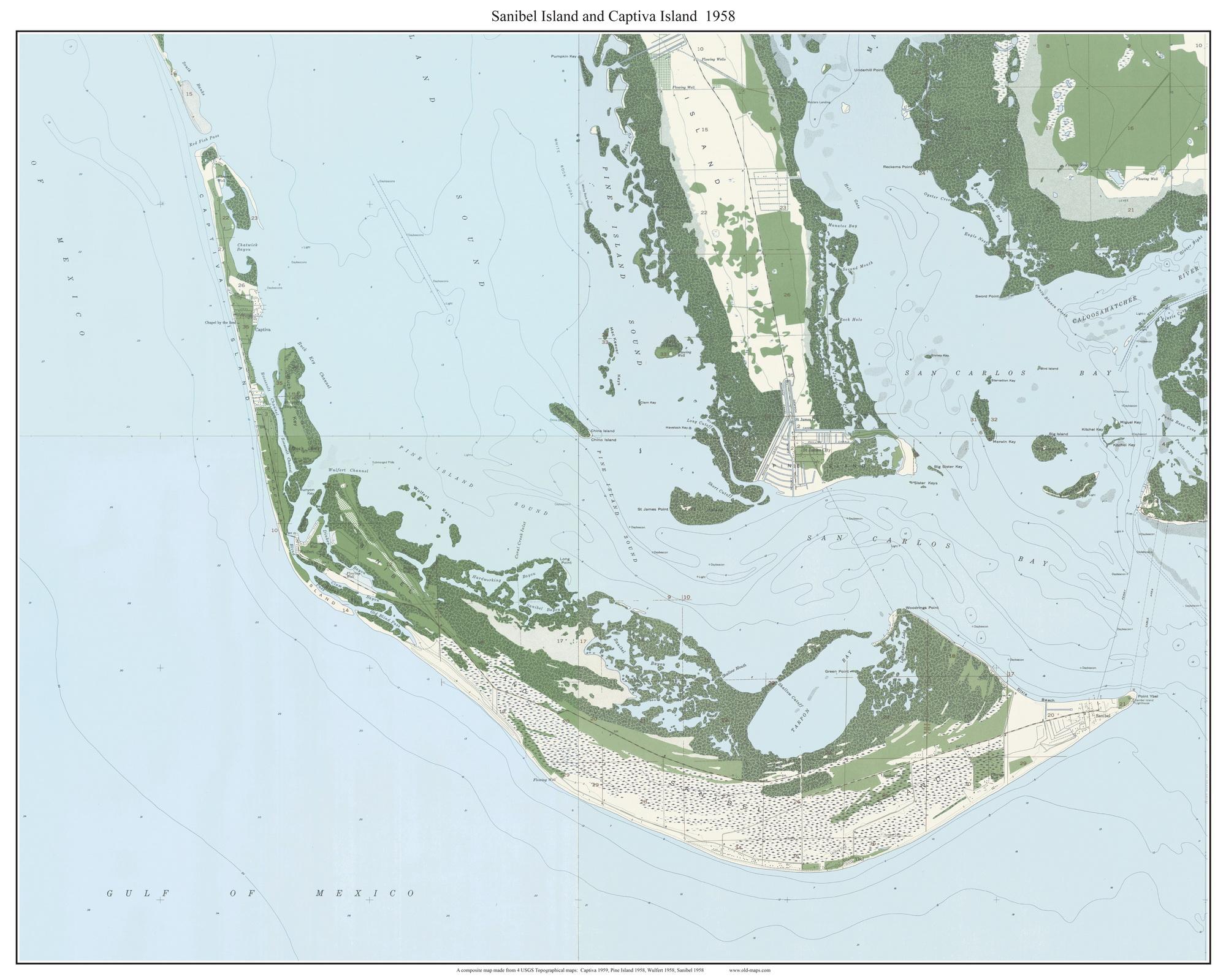 Sanibel Island and Captiva Island 1958 - Custom USGS Old Topo Map ...