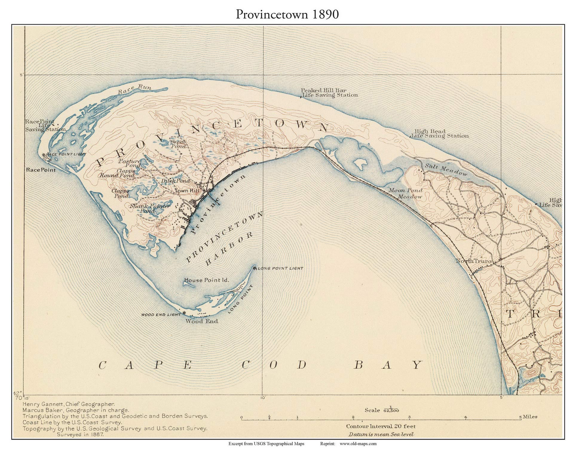 Topographic Map Massachusetts.Provincetown 1890 Custom Usgs Old Topo Map Massachusetts Old Maps