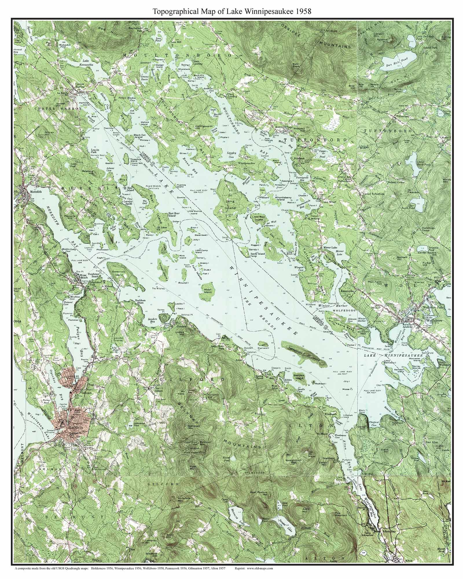 Lake Winnipesaukee 1958 Custom USGS Old Topo Map New Hampshire