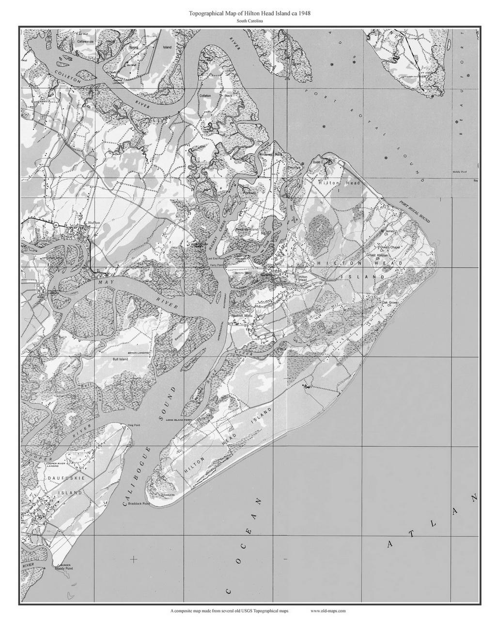 Hilton Head Island (B&W) 1948 - Custom USGS Old Topo Map - South ...