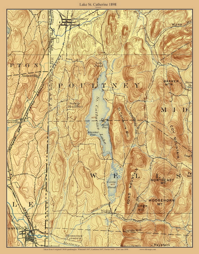 Lake St Catherine 1897 Custom Usgs Old Topo Map Vermont Old Maps